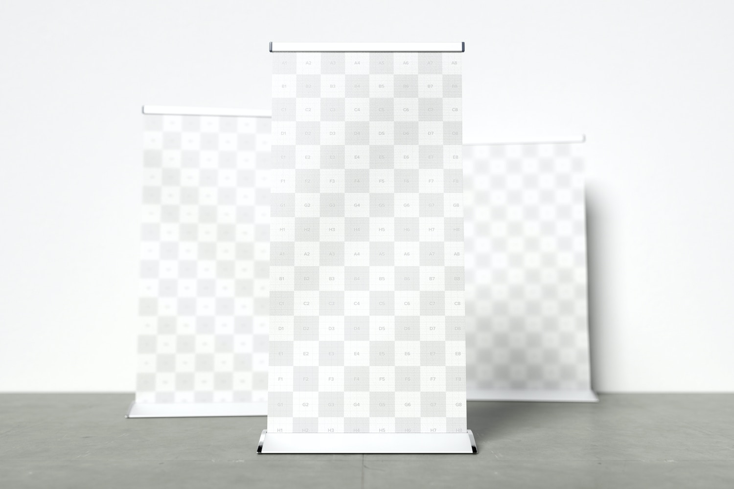Standing Roll-Up Banners Mockup with a Background Wall 04