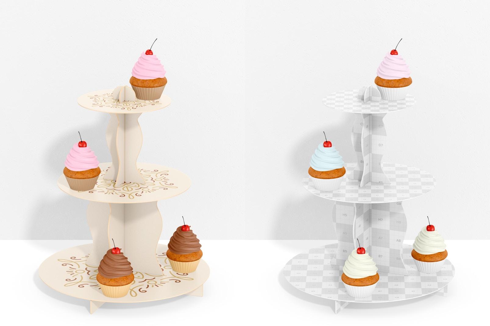 3-Tier Cardboard Cupcake Stand with Wall Mockup