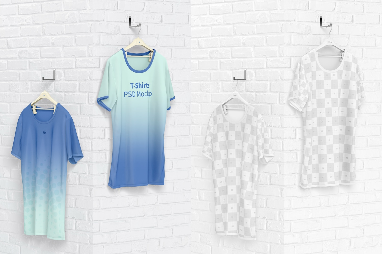 Hanging T-Shirts Mockup, Perspective View