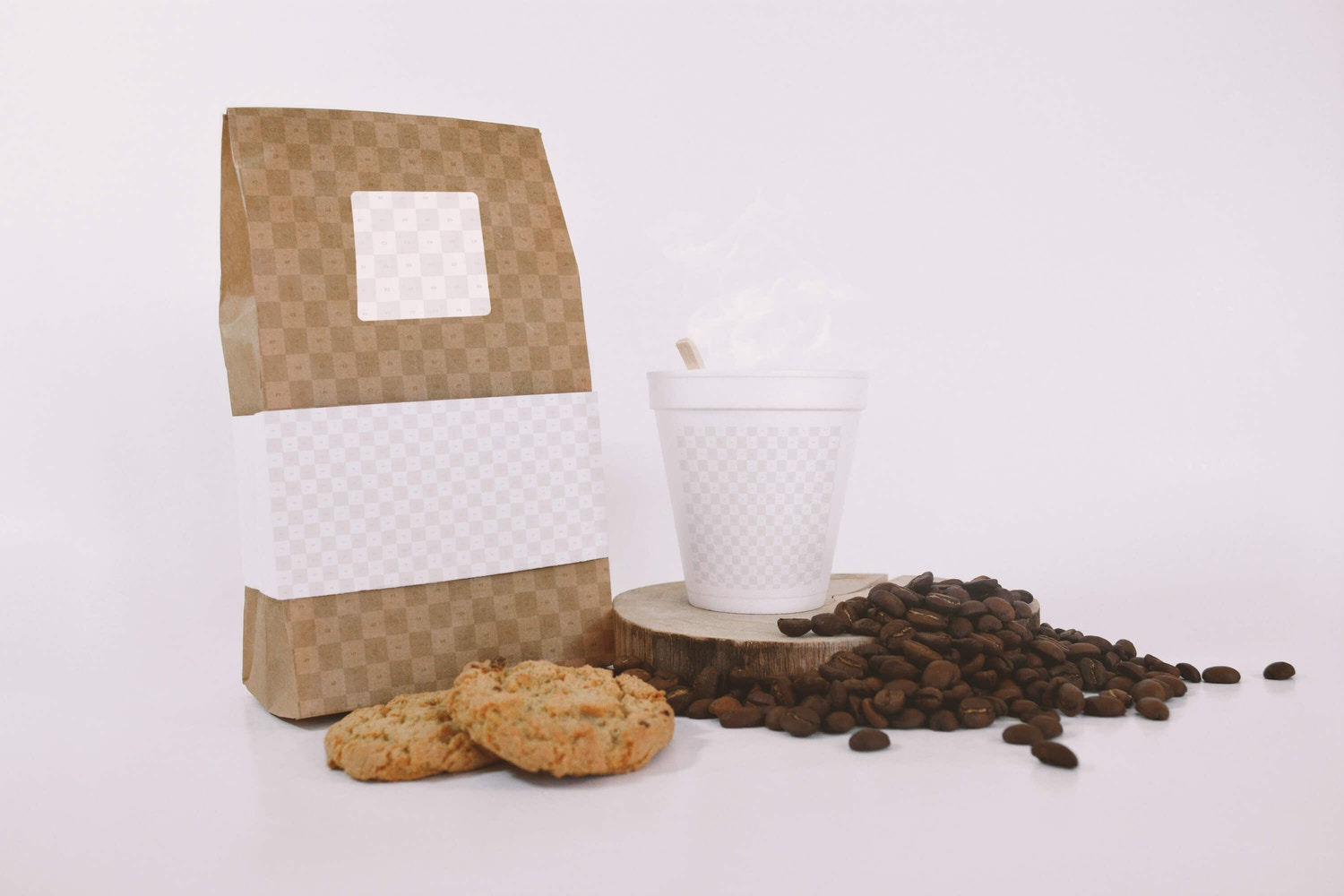 Coffee Bag and Cup Mockup With Cookies