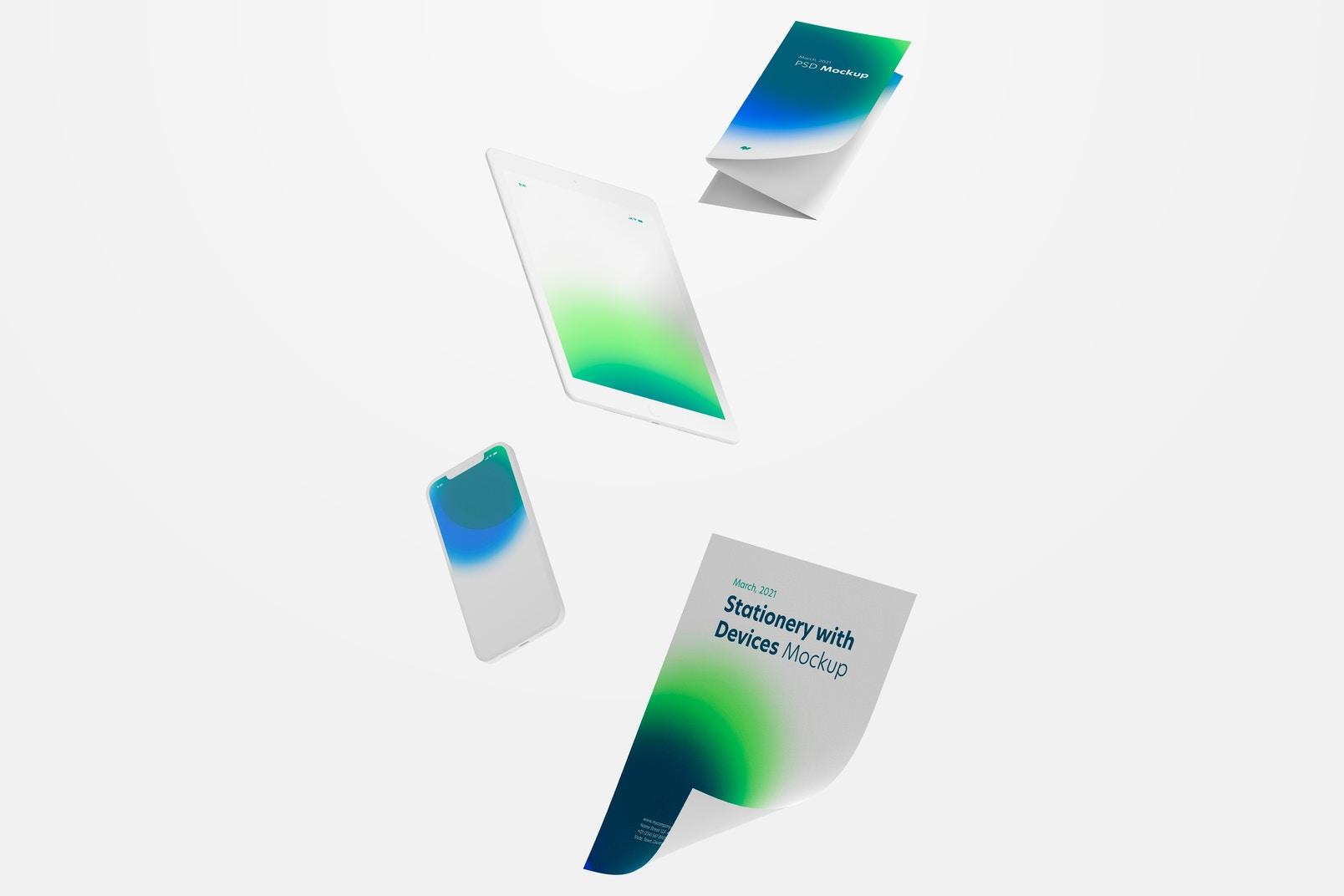 Stationery with Devices Mockup, Floating