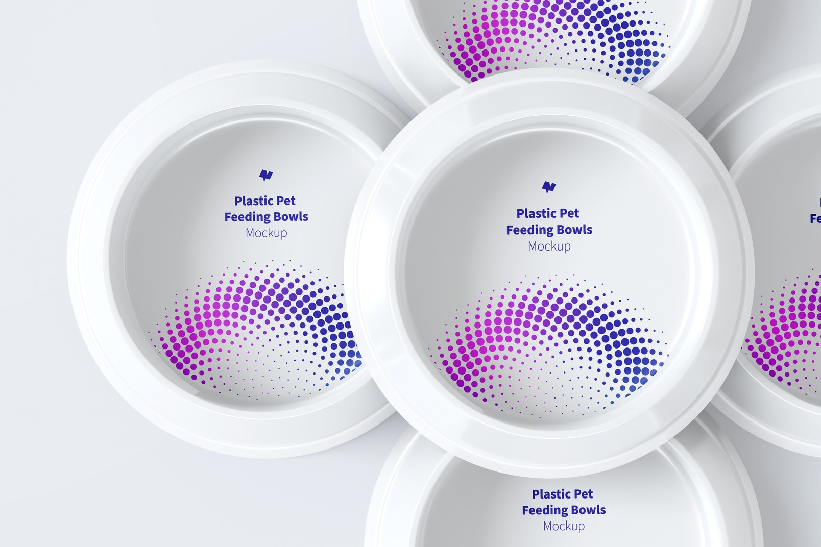 Plastic Pet Feeding Bowls Set Mockup