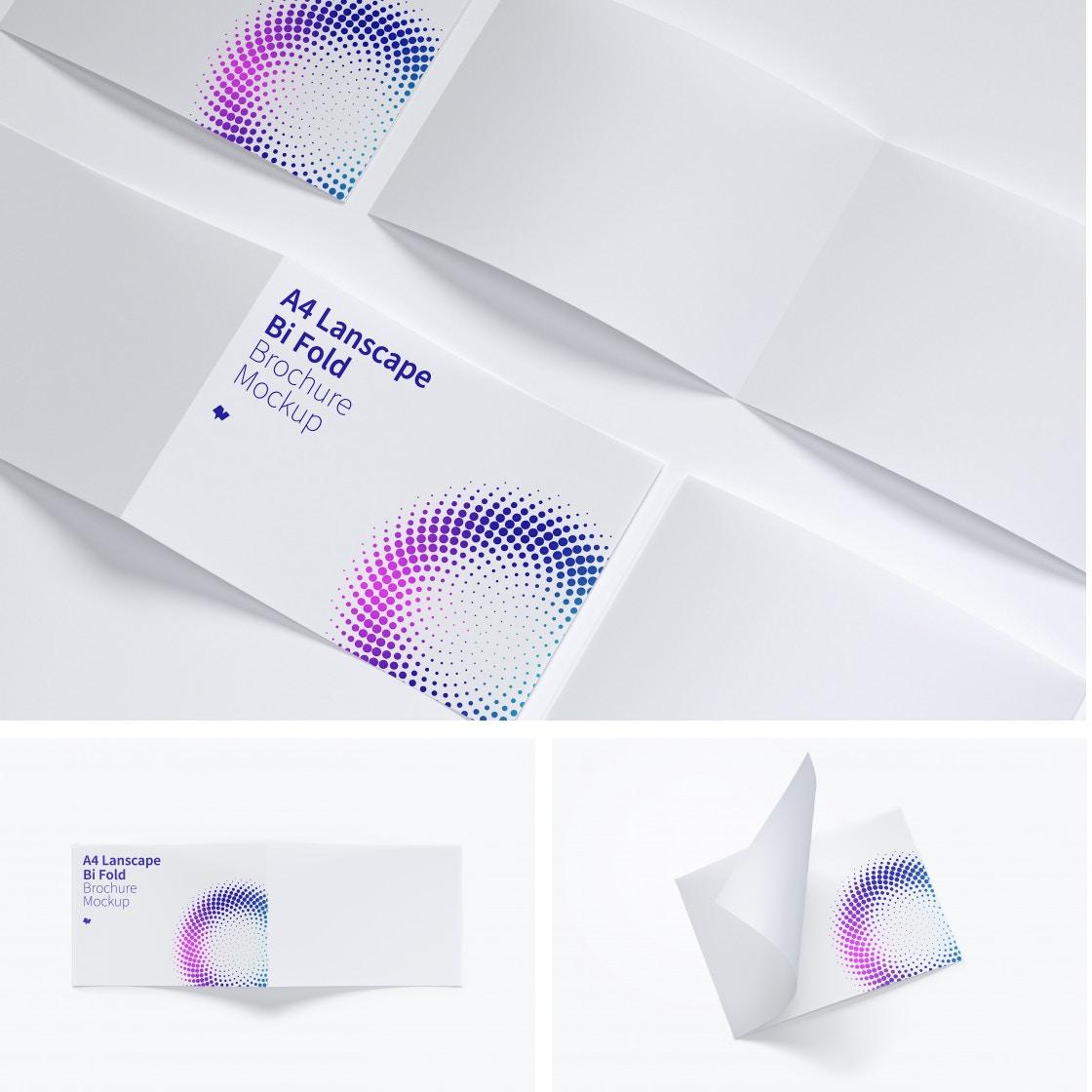 A4 Landscape Bi Fold Brochure Mockups by Original Mockups on Original Mockups