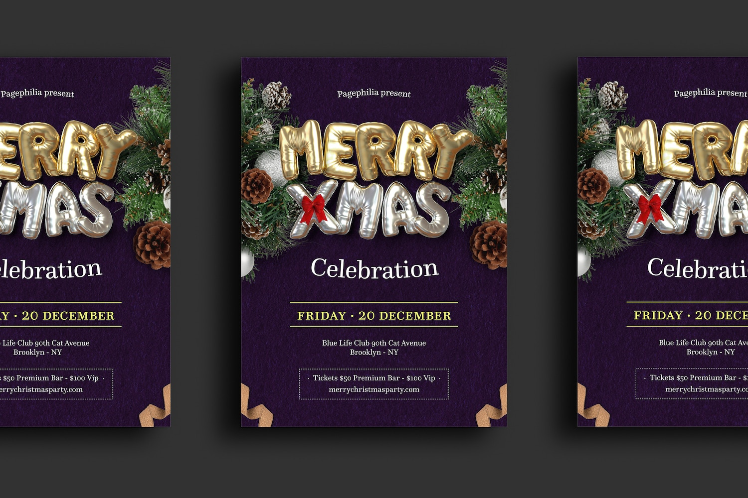Balloon Party, Christmas Flyer Template 3 by Original Mockups on Original Mockups