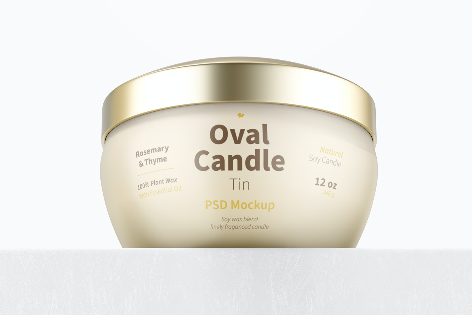 Oval Candle Tin Mockup, Low Angle View
