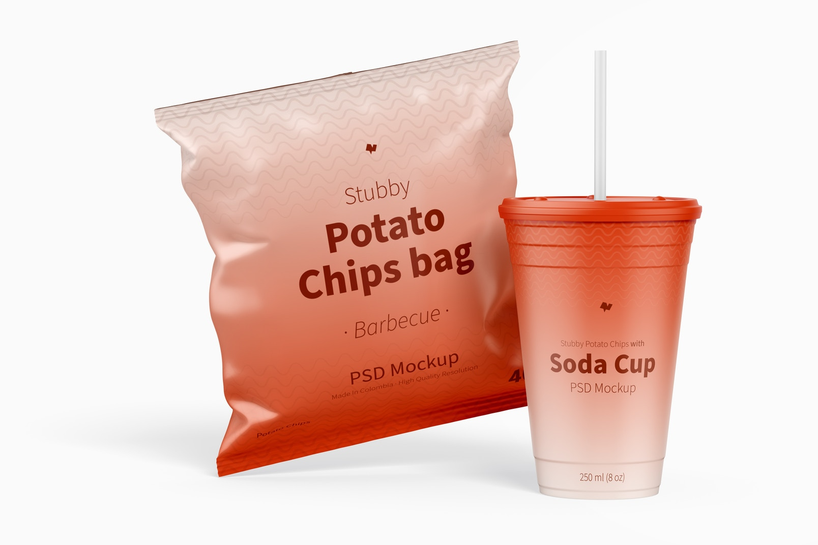 Stubby Chips Bag Mockup with Soda