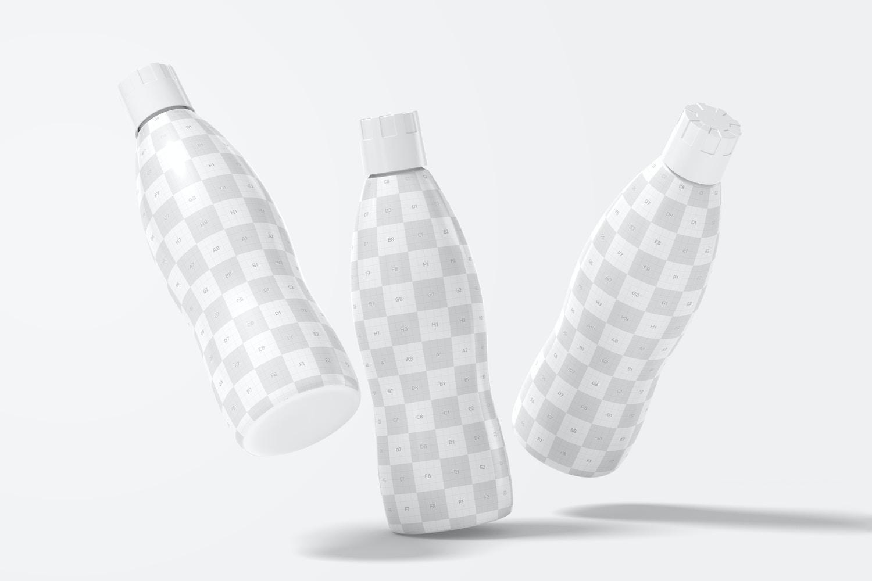 32 oz Yogurt Bottles Mockup, Falling