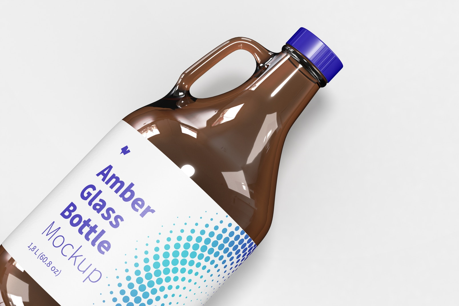 Amber Glass Bottle with Handle Jar Mockup, Close-Up