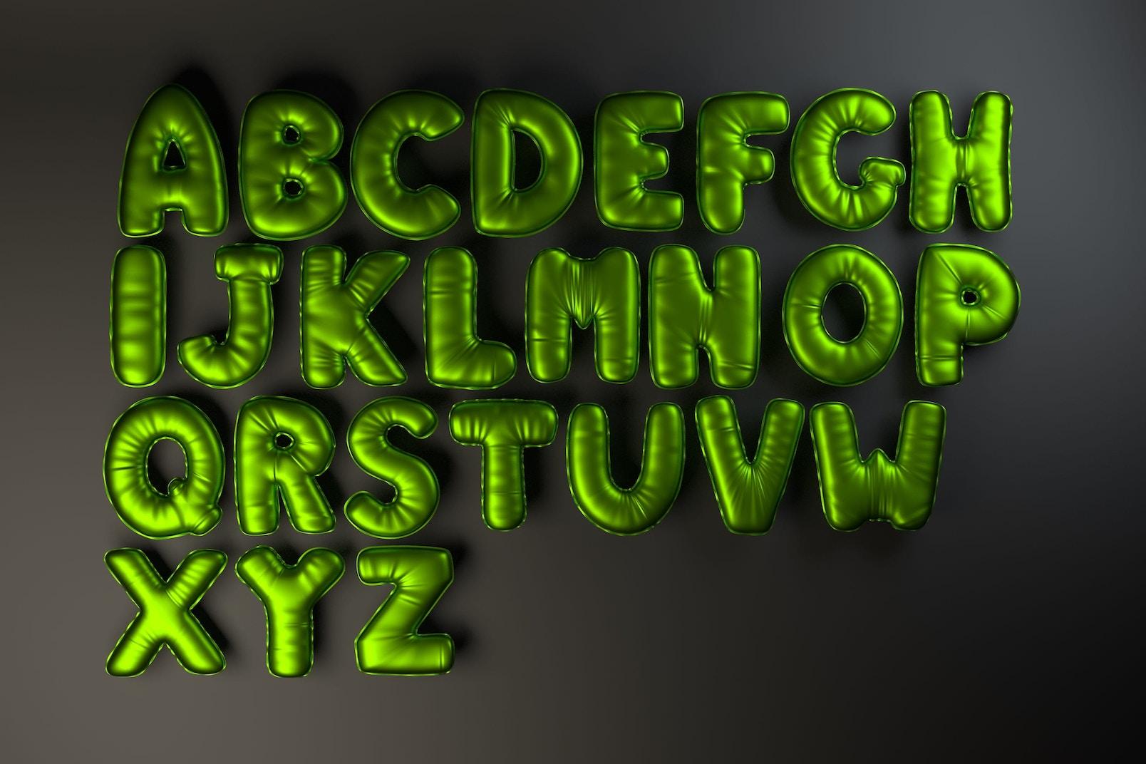 Foil Balloon Alphabet - Green Blurry