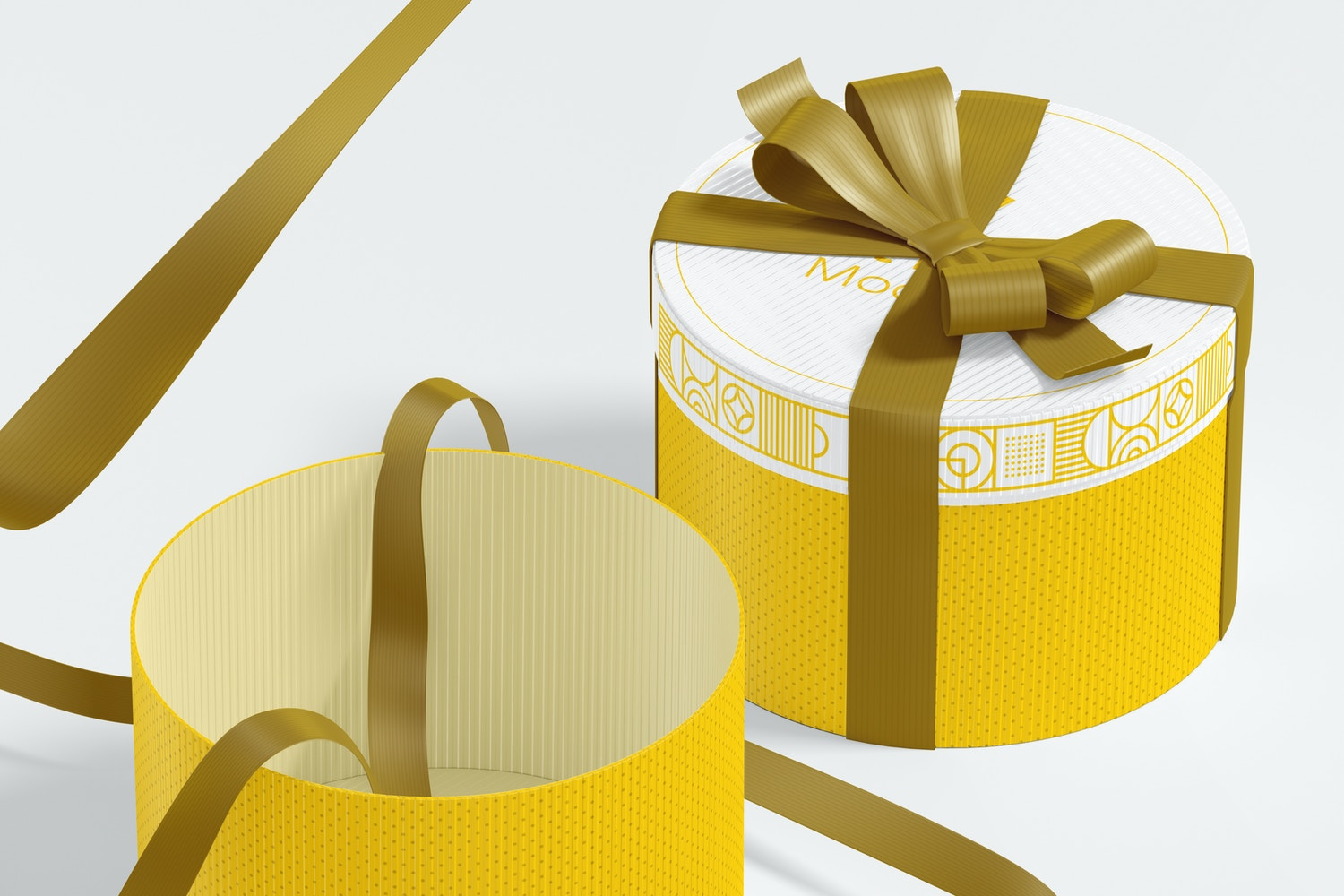 Round Gift Boxes with Ribbon Mockup, Perspective
