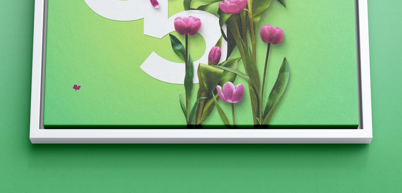 6:5 Landscape Canvas Mockup in Floater Frame, Bottom Front View