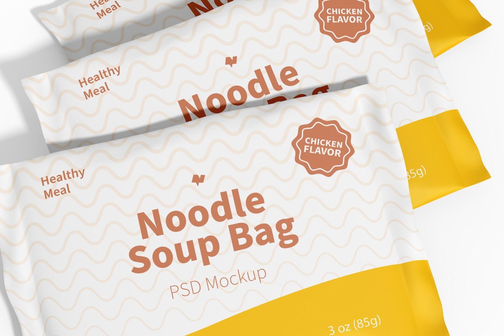 Noodle Soup Bags Mockup, Close Up