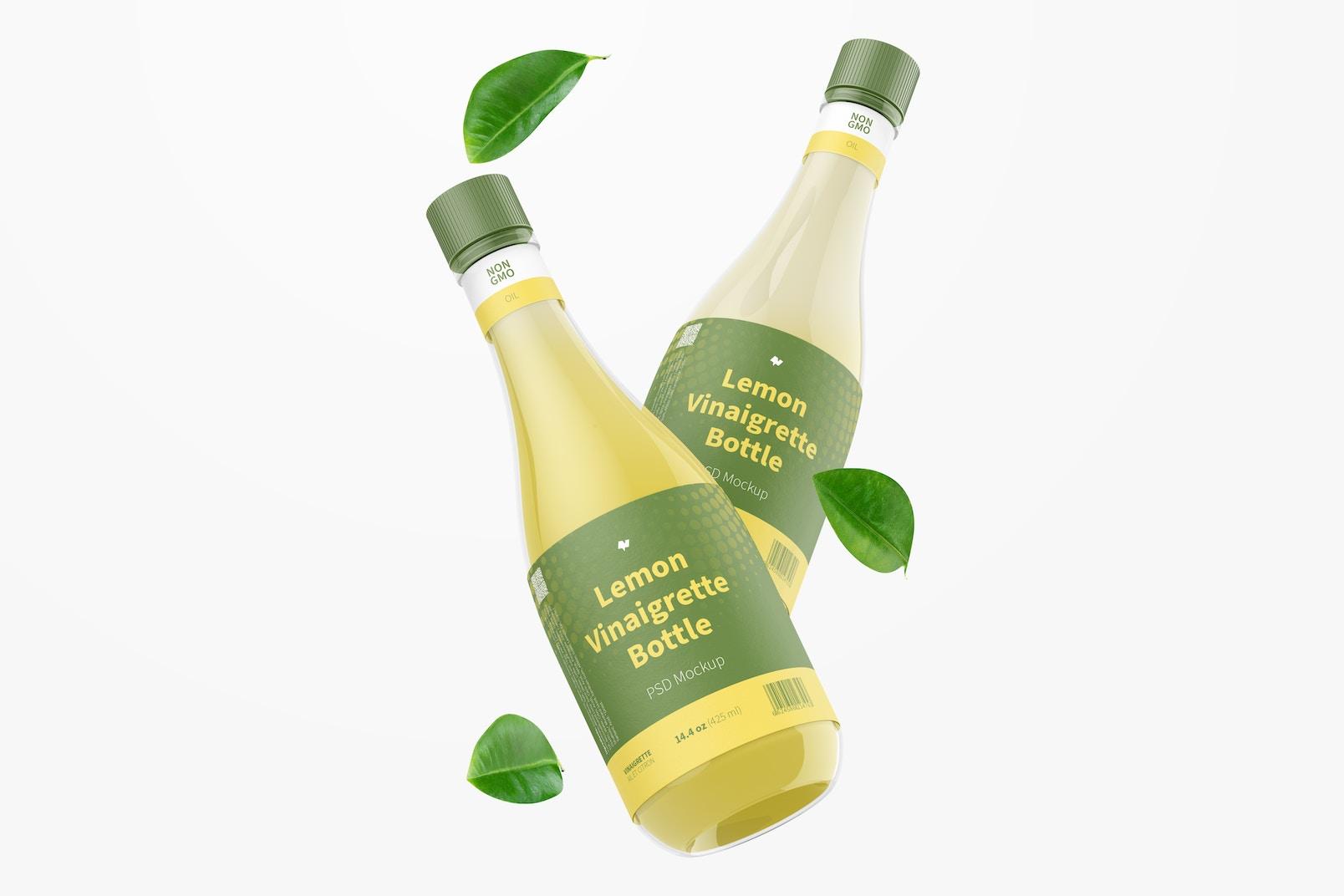14.5 oz Lemon Vinaigrette Bottle Mockup, Floating