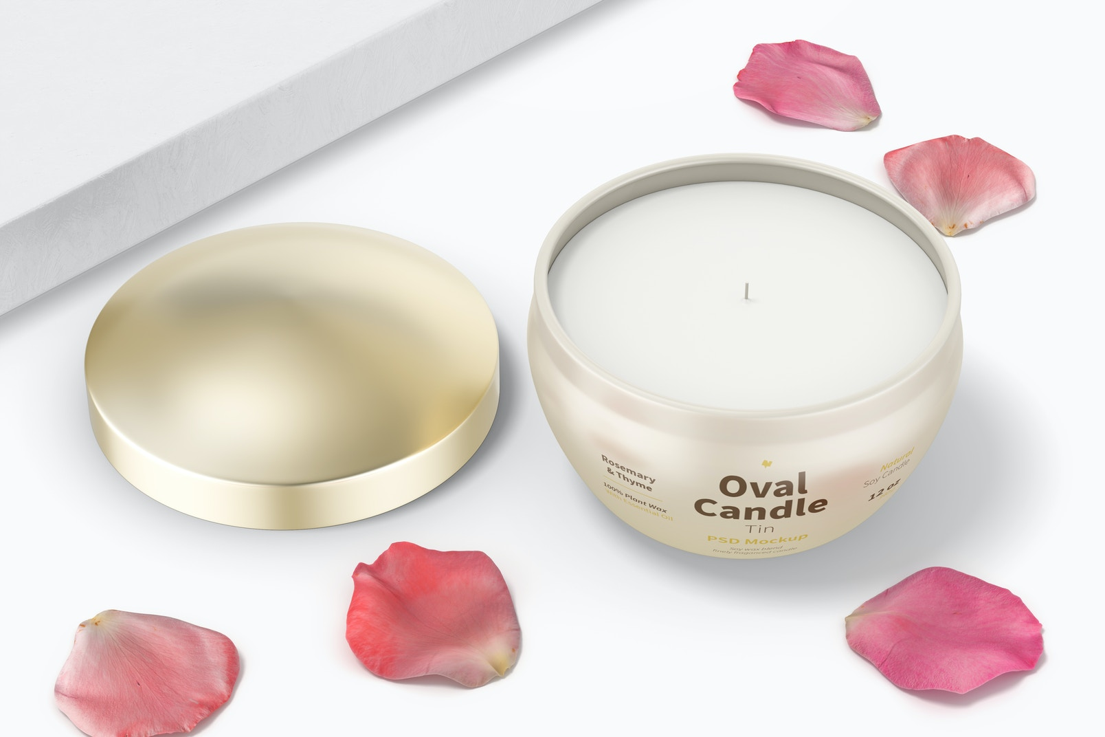 Oval Candle Tin Mockup, Top View