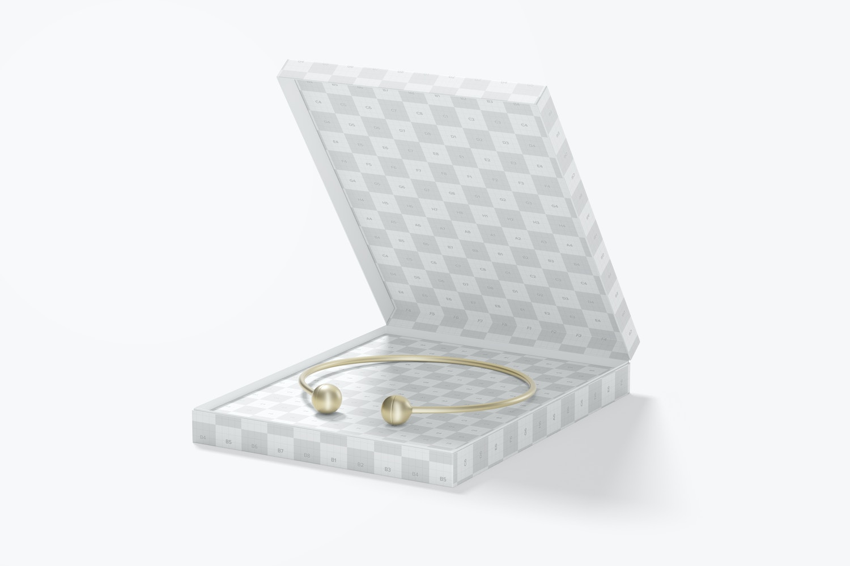 Square Jewelry Box Mockup, Opened
