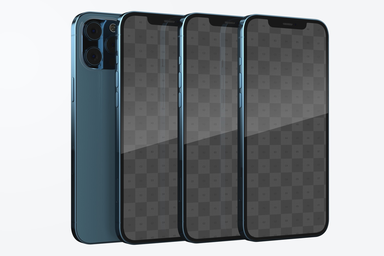 iPhone 12 Set Mockup, Left Side View