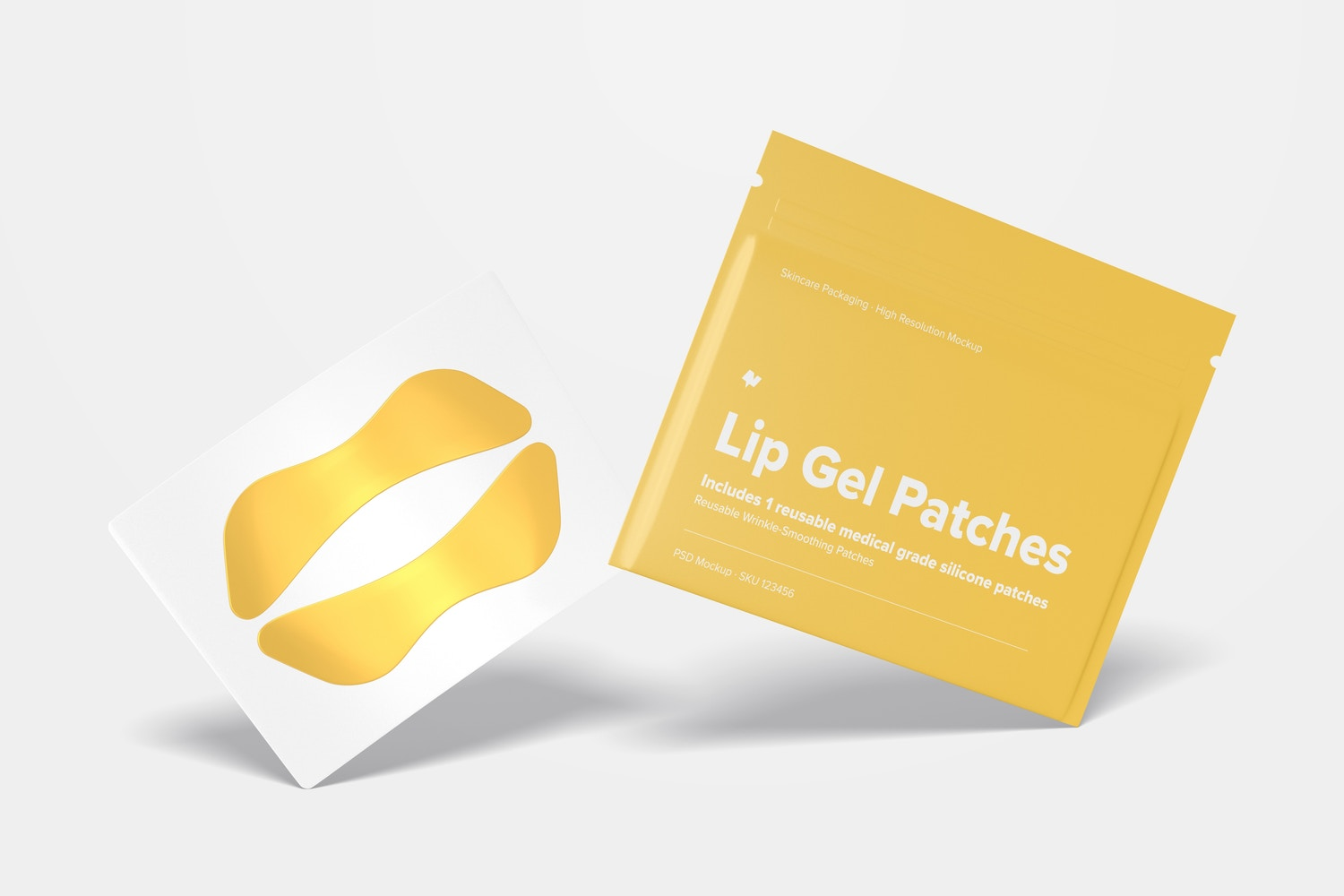 Lip Gel Patches Packaging Mockup, Leaned