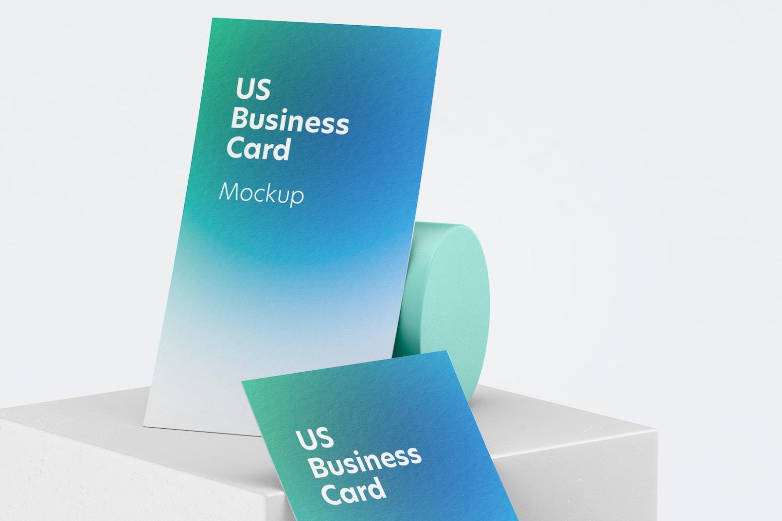 US Portrait Business Cards Mockup