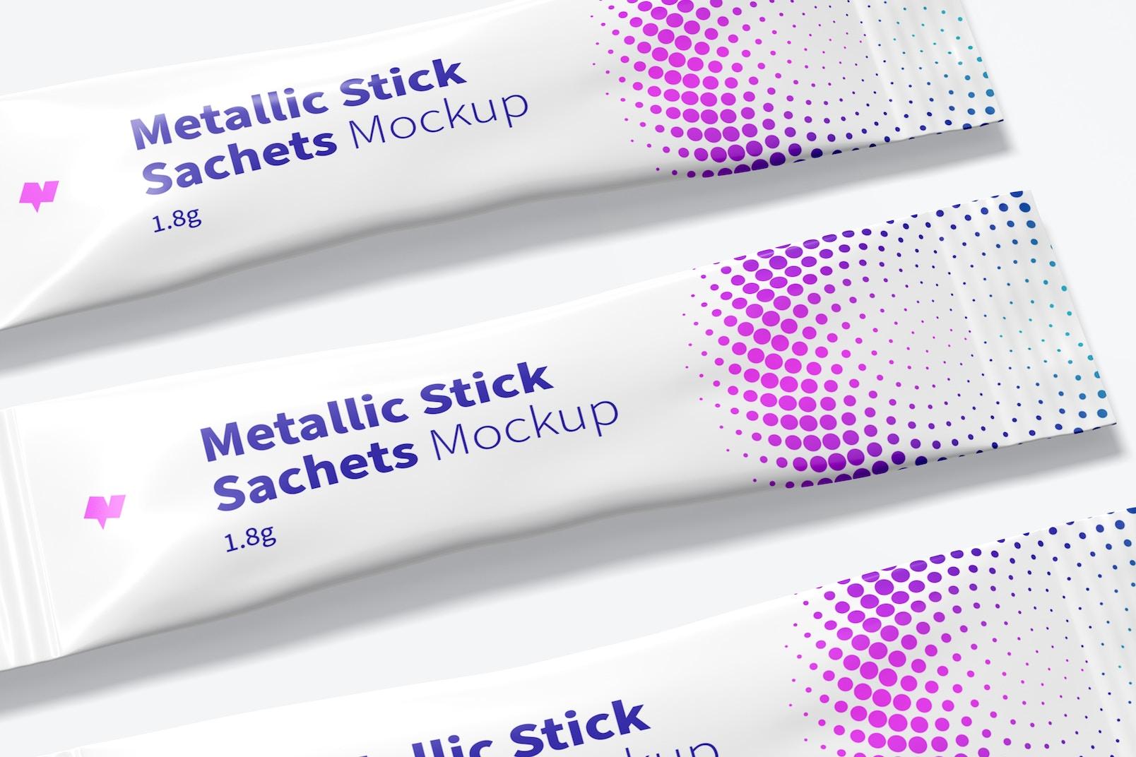 Metallic Stick Sachets Mockup, Close Up