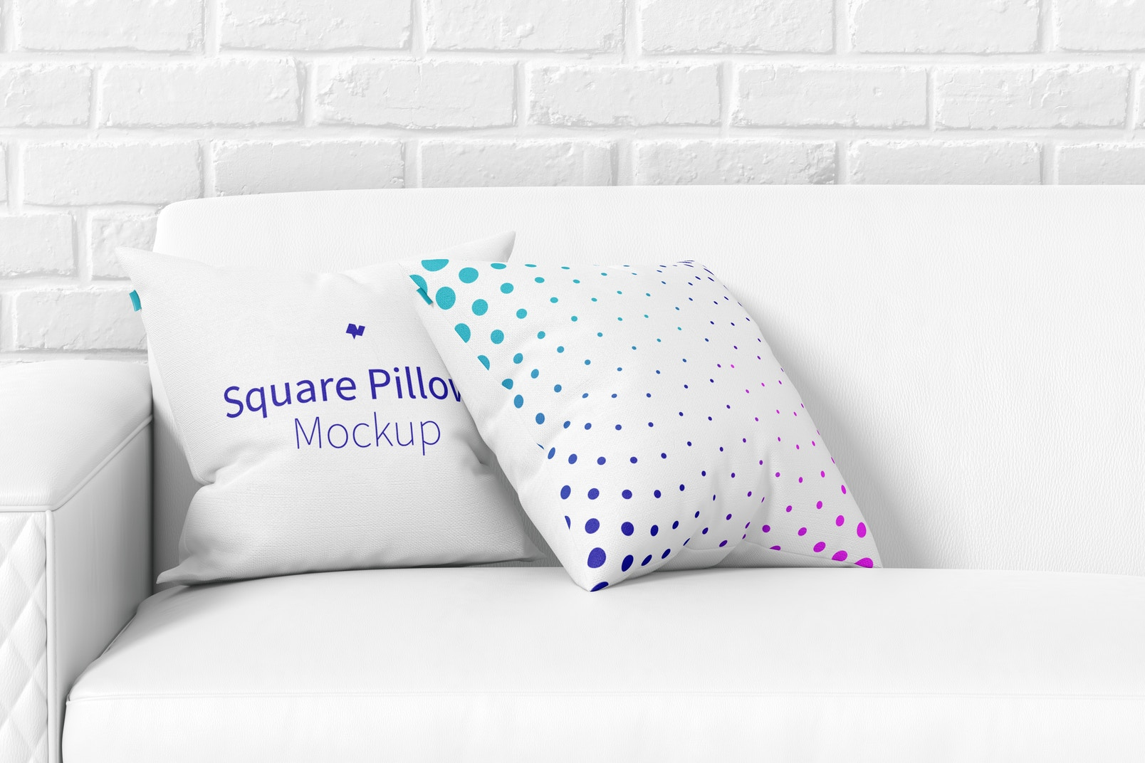 Square Pillows on the Sofa Mockup