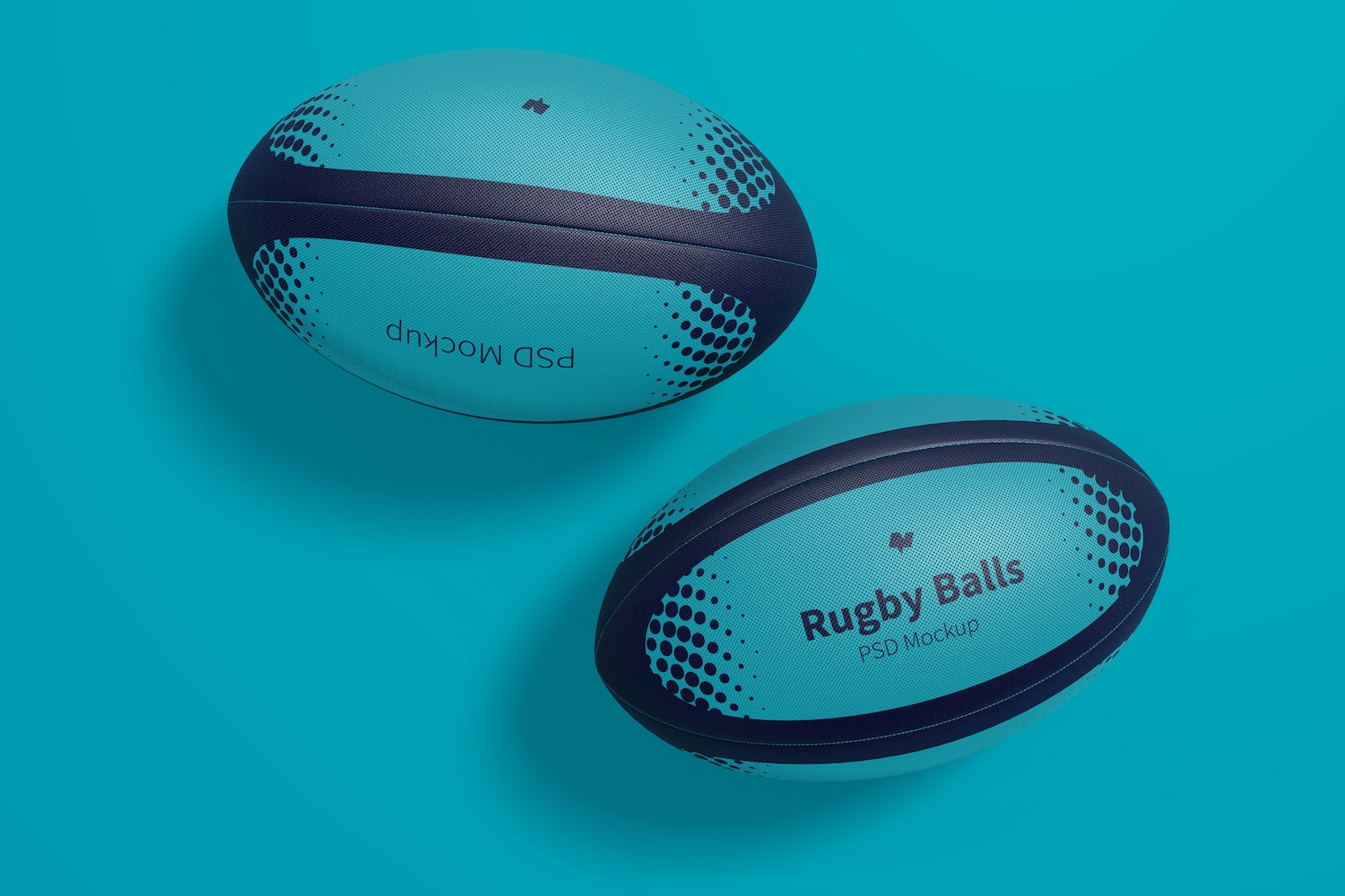 Rugby Balls Mockup, Top View