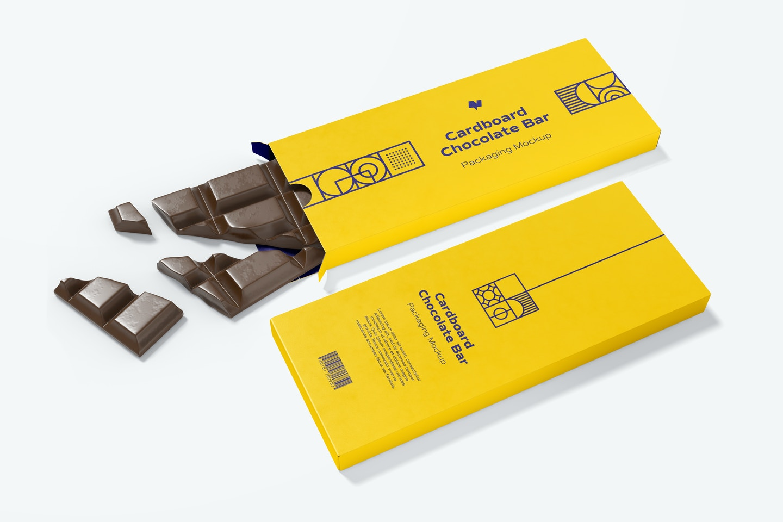 Cardboard Chocolate Bar Packaging Mockup, Perspective