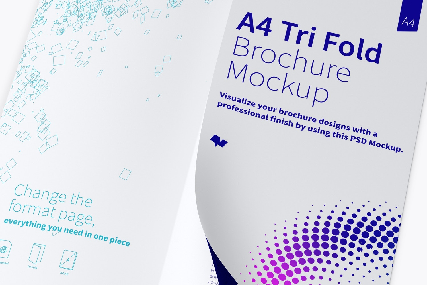A4 Trifold Brochure Mockup 04 (3) by Original Mockups on Original Mockups