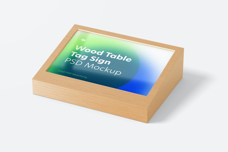 Wood Table Advertising Tag Sign Mockup