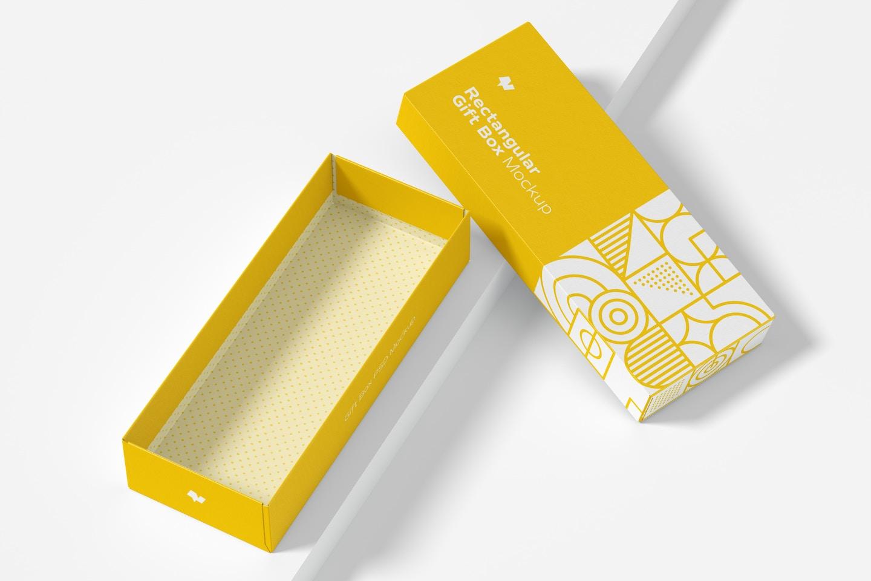 Rectangular Gift Box Mockup, Top View