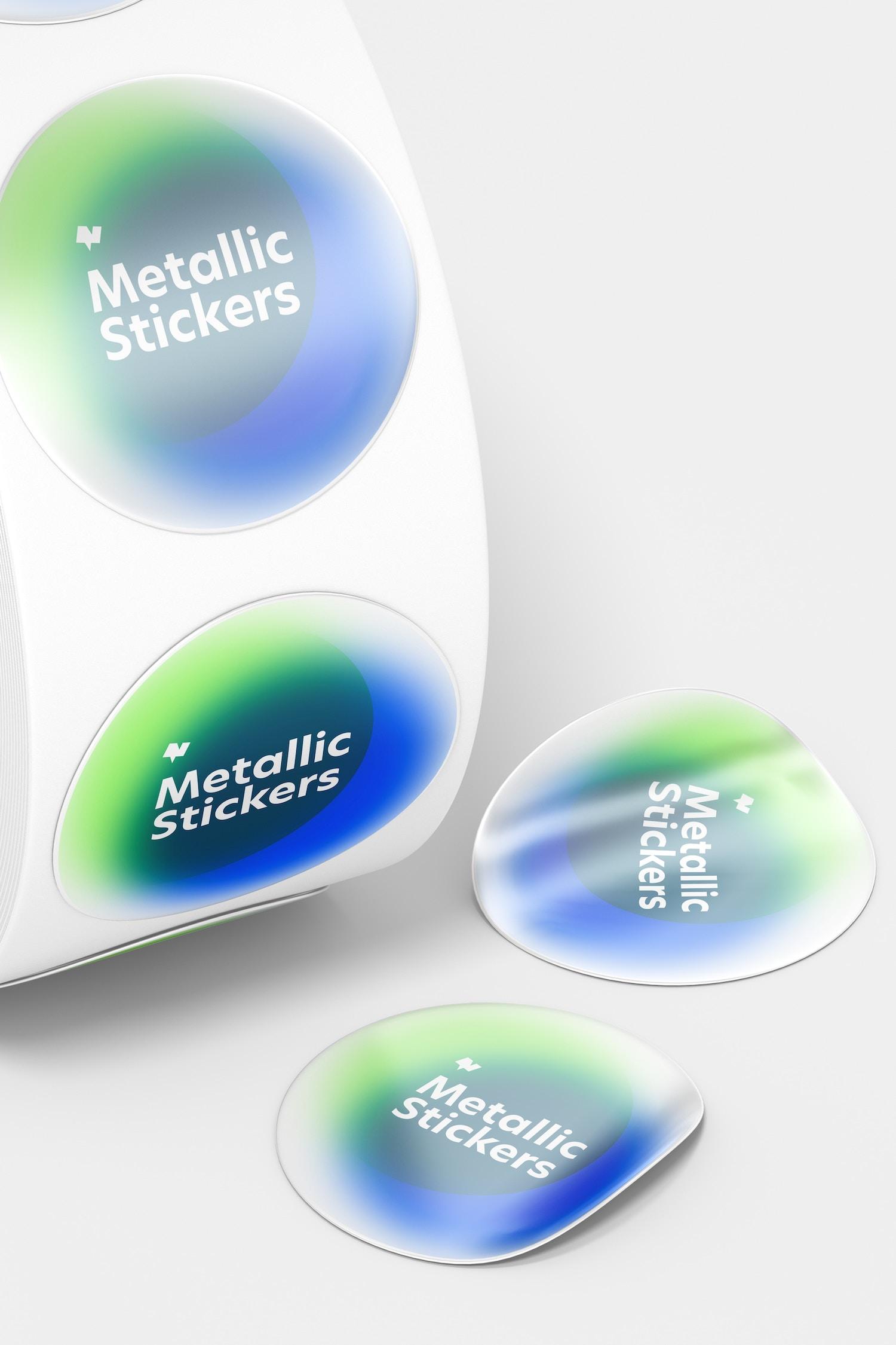 Metallic Stickers Roll Mockup, Close Up
