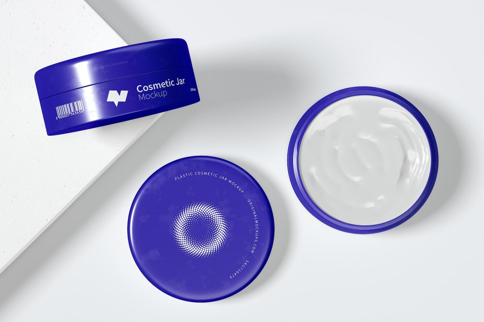 100mm Plastic Cosmetic Jars Mockup, Top View 02
