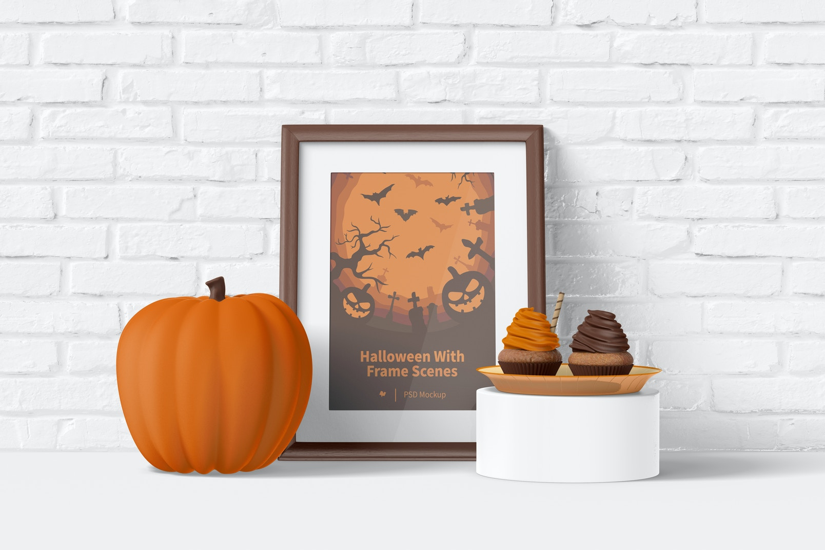 Halloween with Frame Scene Mockup, Leaned