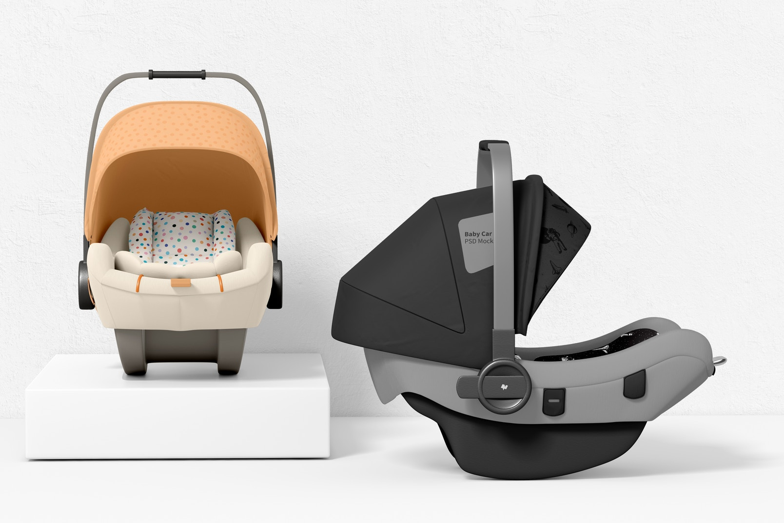 Baby Car Seats Mockup, Front and Right View