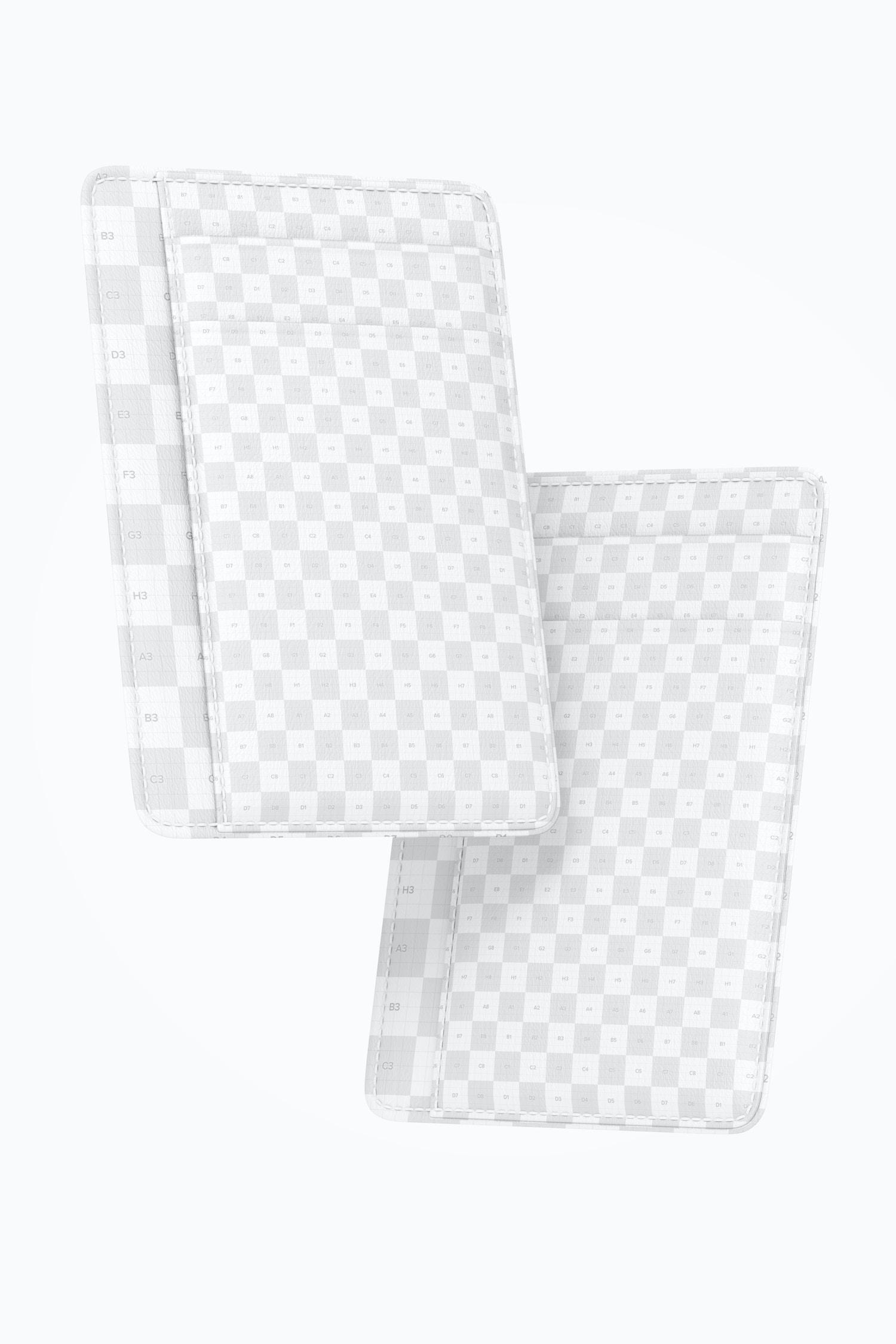 Leather Slim Wallet Mockup, Floating