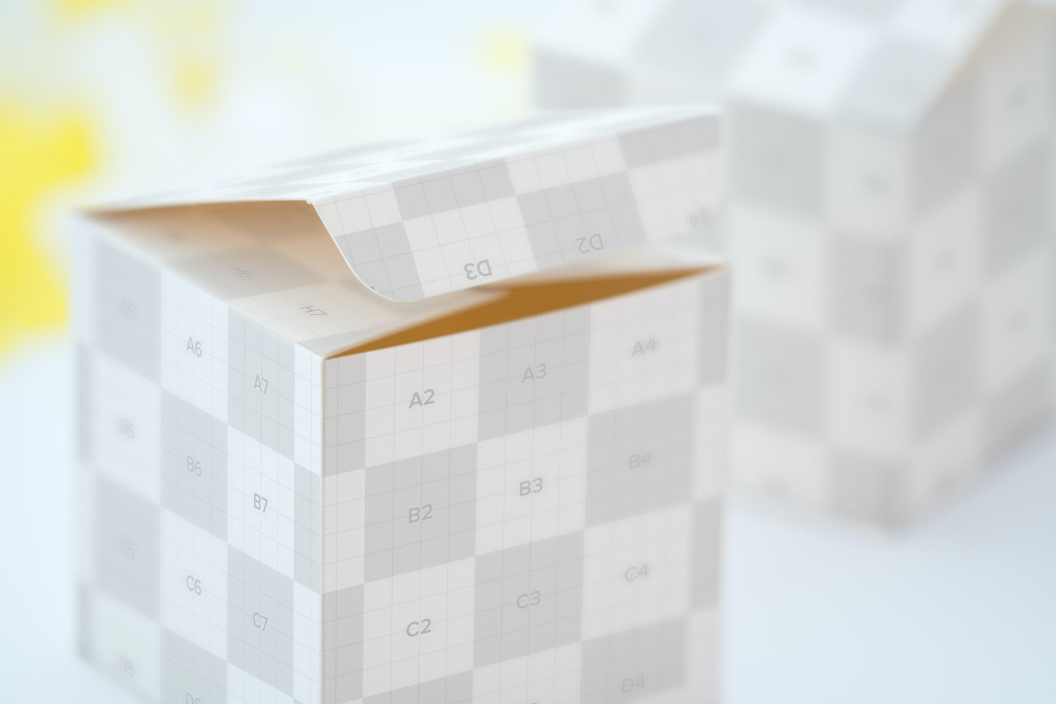 Soft Paper Cube Gift Box Mockup 02 by Ktyellow  on Original Mockups