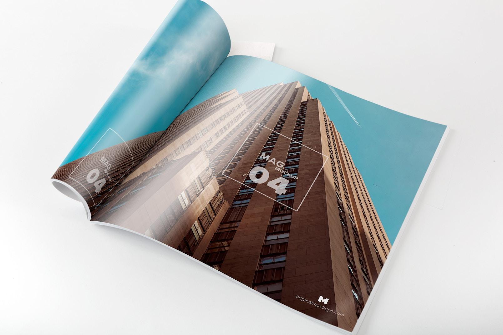 Square Magazine Opened Rolled Mockup