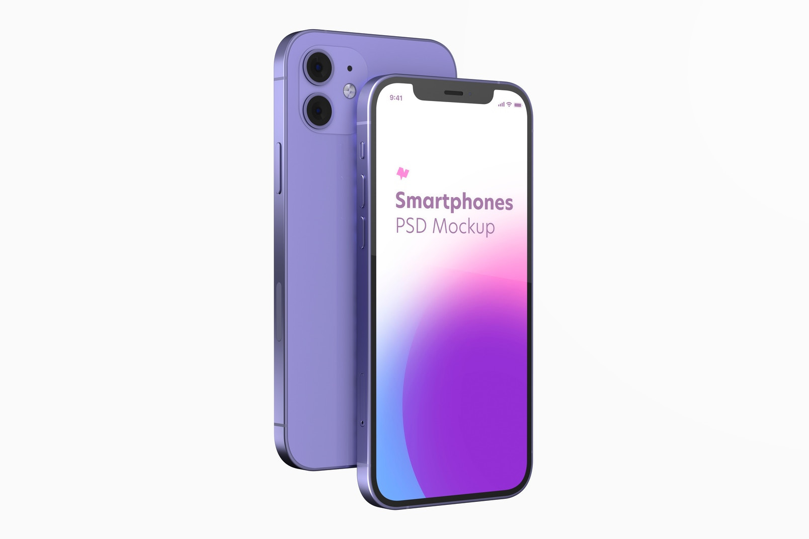 iPhone 12 Purple Version Mockup, Front and Back View