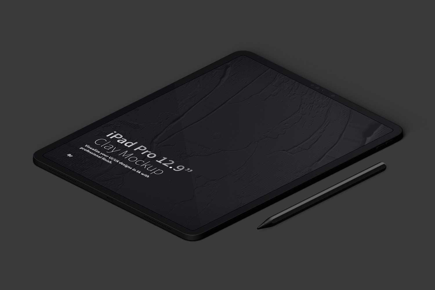 """Clay iPad Pro 12.9"""" Mockup, Isometric Right View (5) by Original Mockups on Original Mockups"""