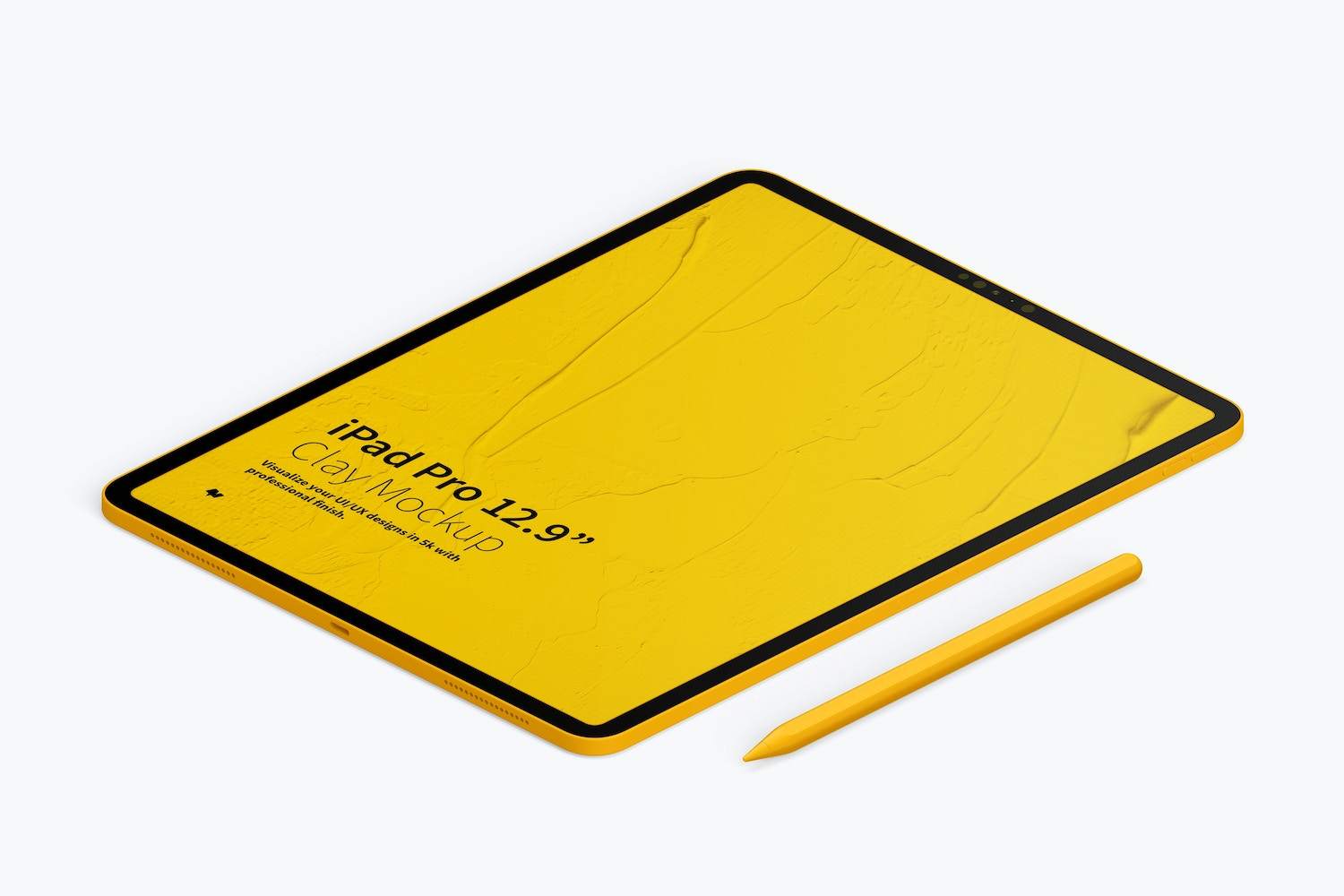"""Clay iPad Pro 12.9"""" Mockup, Isometric Right View (4) by Original Mockups on Original Mockups"""