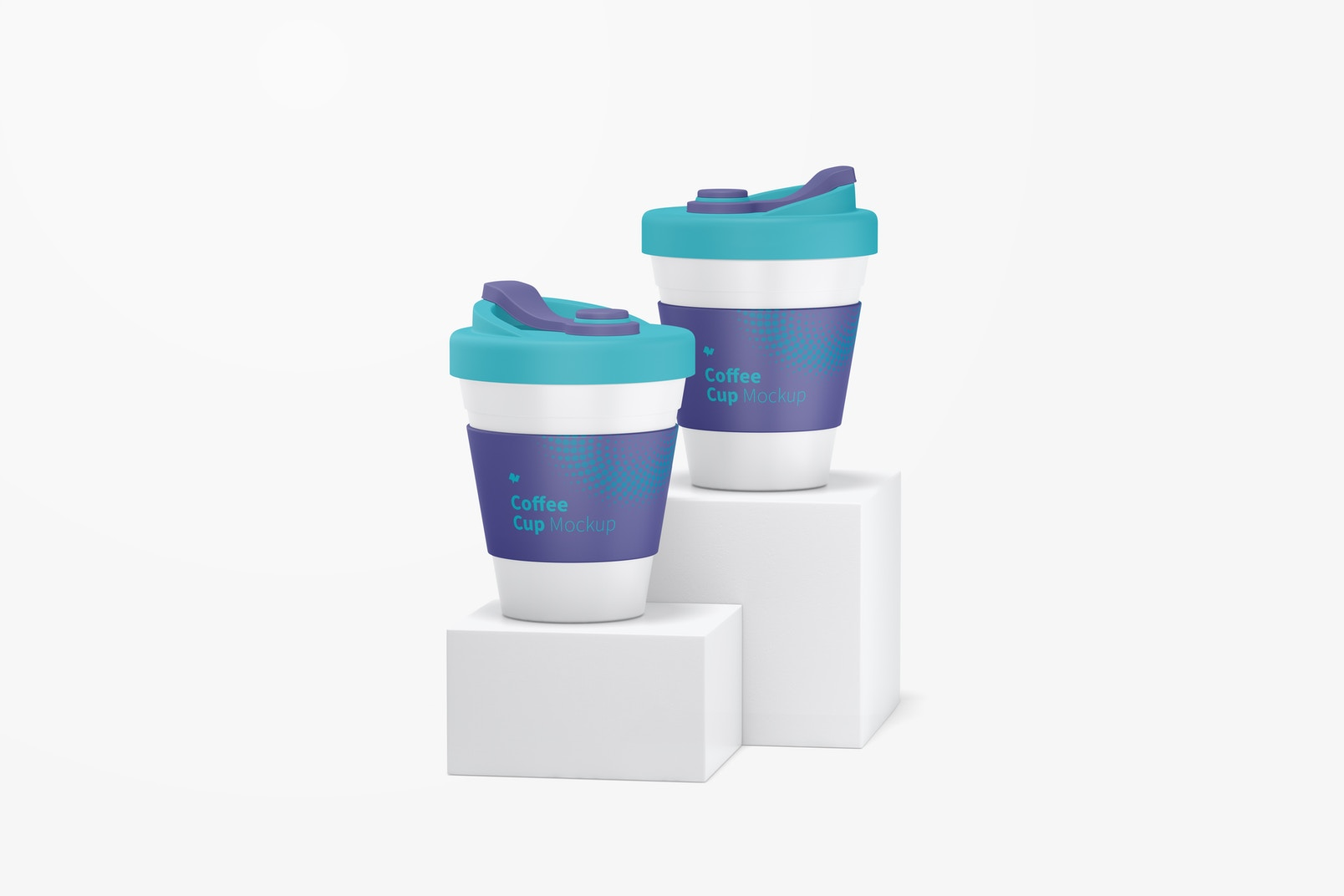 Coffee Cups with Lid Mockup, Front View