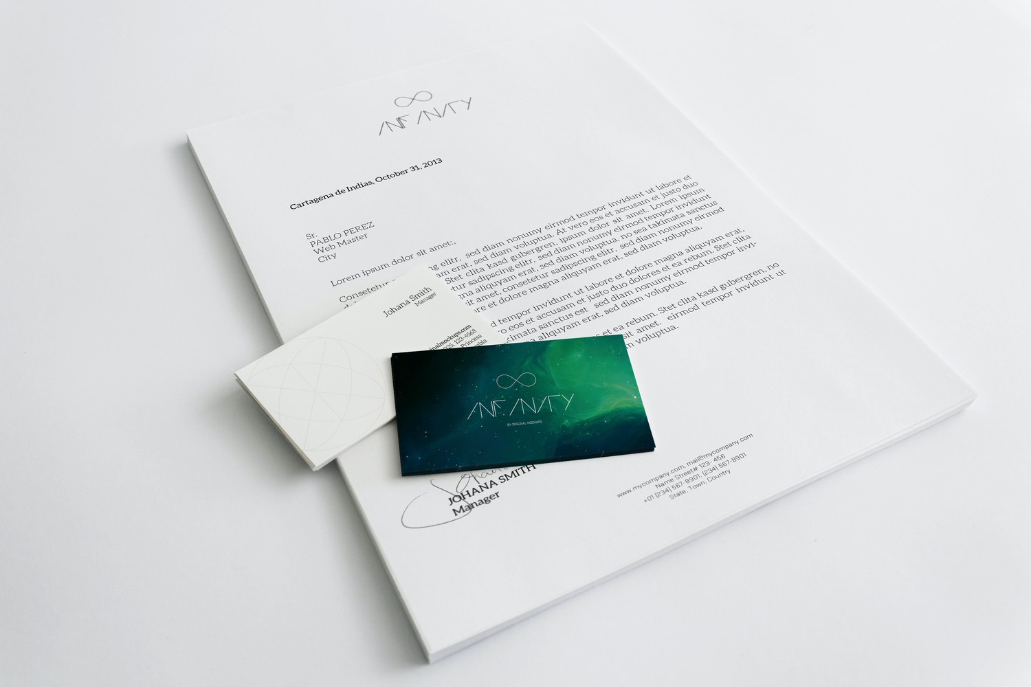 A4 Letterhead and Business Cards Mockup por Original Mockups en Original Mockups