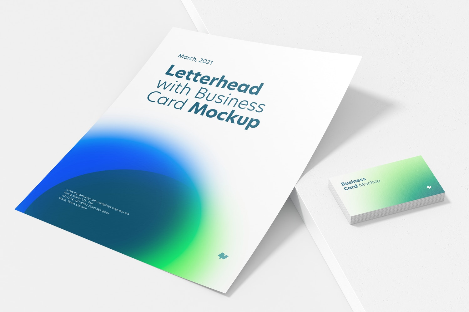 Letterhead with Business Card Mockup, Perspective