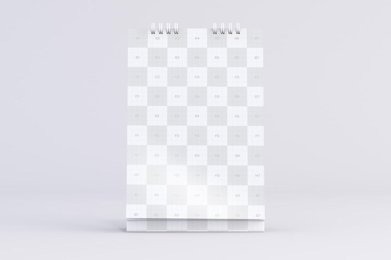 Maqueta de calendario de escritorio en vista frontal - Zonas personalizables usando Objetos Inteligentes