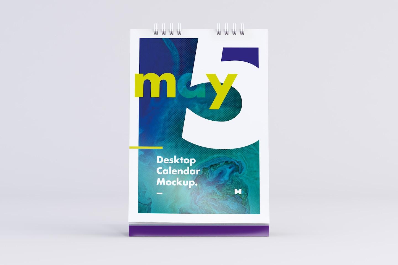 Desktop Portrait Calendar Mockup in Front View