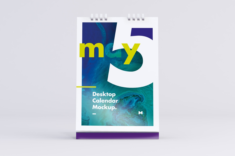 Desktop Portrait Calendar Mockup in Front View by Original Mockups on Original Mockups