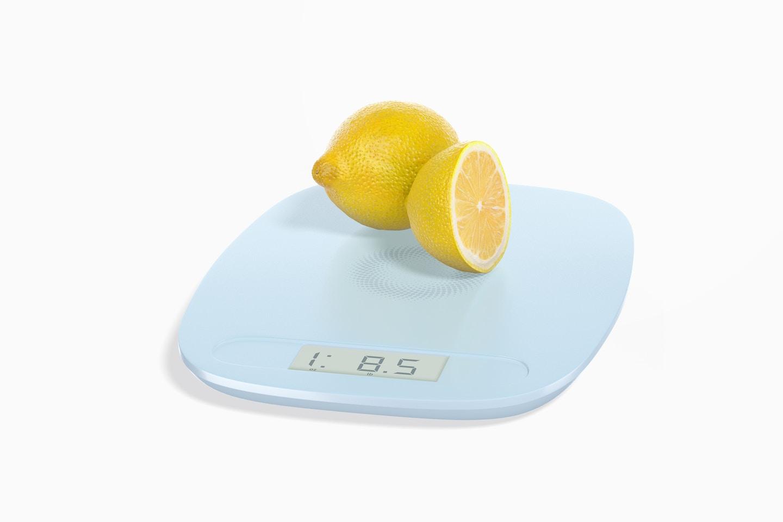 Digital Kitchen Scale Mockup with Lemons