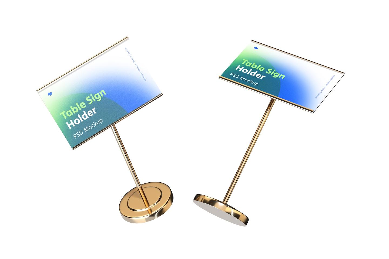 Table Sign Holders Metallic Base Mockup, Floating