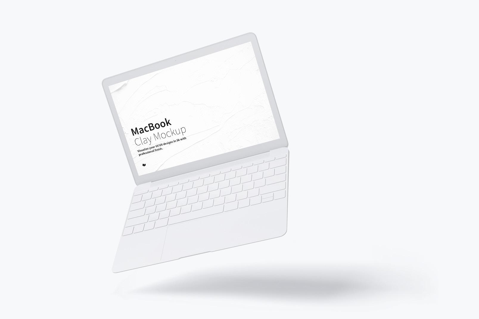 Clay MacBook Mockup, Floating