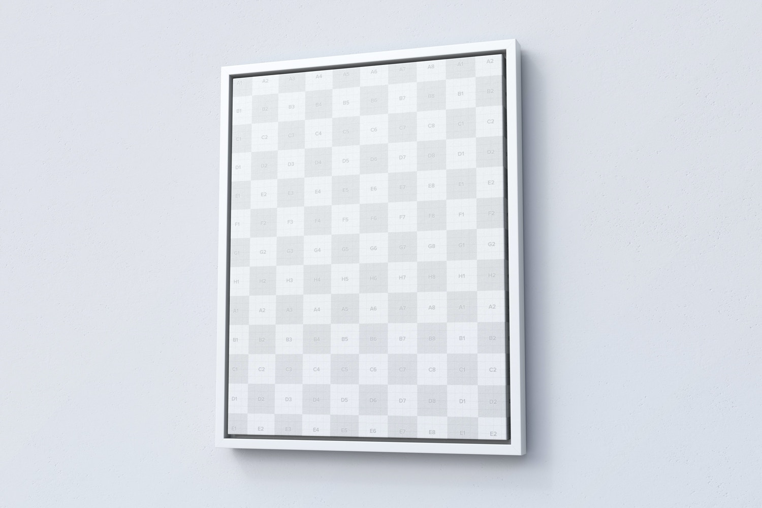 7:9 Portrait Canvas Mockup in Floater Frame, Right View