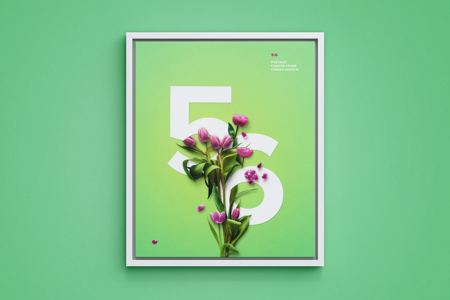 5:6 Portrait Canvas Mockup in Floater Frame, Front View